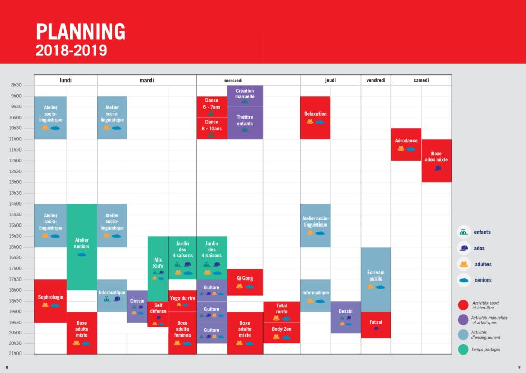 planning des activités du mixcube 2018-2019